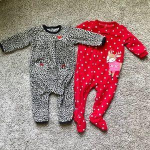 TWO Fleece Zip-Up Pajamas